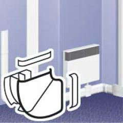 Angle plat variable 85°-120° - pour plinthe DLPlus 120x20 - blanc