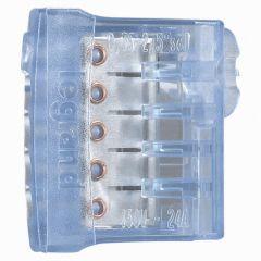 Borne connexion sans vis Nylbloc auto pour 5 fils - 24 A - 450 V~ - bleu