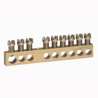 Bornier de répartition - nu à visser - 1 connexion 6 à 25 mm² - L. 73 mm