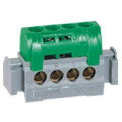 Bornier de répartition IP 2X - terre - 4 connexions 1,5 à 16 mm²- vert - L 47 mm