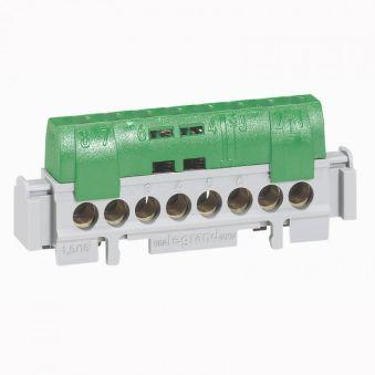 Bornier de répartition IP 2X - terre - 8 connexions 1,5 à 16 mm²- vert - L 75 mm