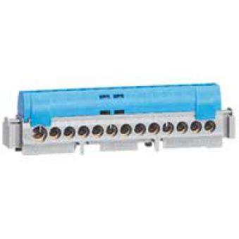 Bornier de répartition IP 2X - neutre - 8 connexions 1,5 à 16 mm² -bleu- L 75 mm