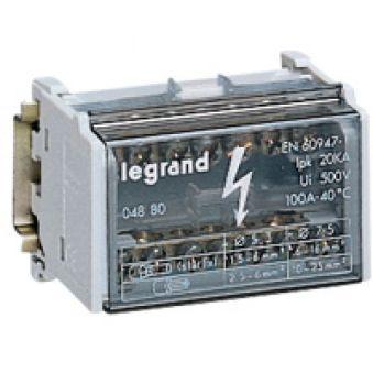 Répartiteur mod monobloc - 2P - 100 A - 7 connexions 4 modules