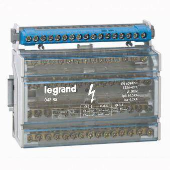 Répartiteur mod monobloc - 4P - 125 A - 15 connexions - 8 modules