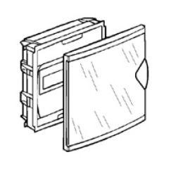 Coffret mini encastré - porte isolante transparente - 1 rangée - 6+2 mod