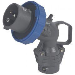 Fiche coudée Hypra - IP66/67-55 - 16 A - 200/250 V~ - 2P+T - plast
